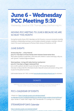 June 6 - Wednesday PCC Meeting 5:30