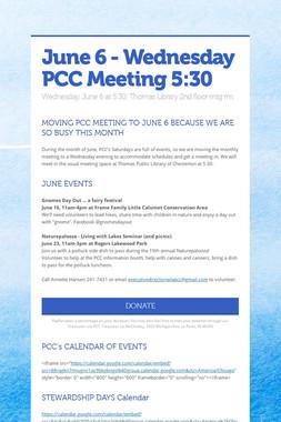 June 6 - Wednesday PCC Meeting 5:30