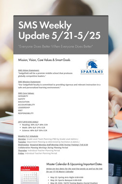 SMS Weekly Update 5/21-5/25