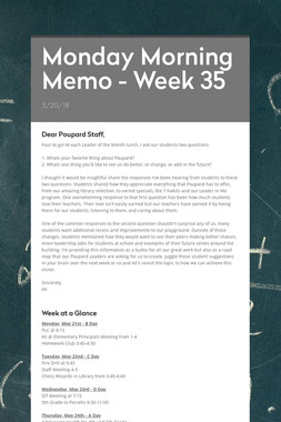 Monday Morning Memo - Week 35