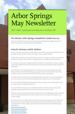 Arbor Springs May Newsletter