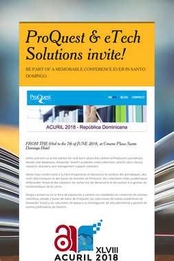 ProQuest & eTech Solutions invite!