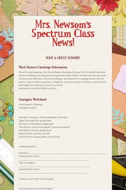 Mrs. Newsom's Spectrum Class News!