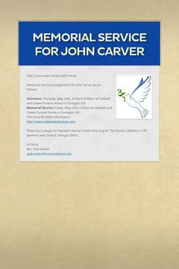 Memorial Service for John Carver