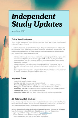 Independent Study Updates