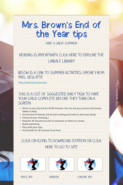 Mrs. Brown's End of the Year tips