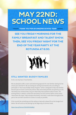 May 22nd: School News