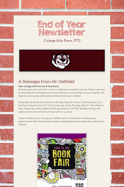 End of Year Newsletter