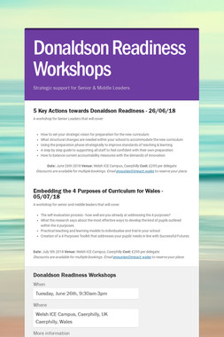 Donaldson Readiness Workshops