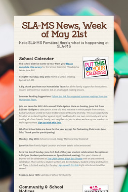SLA-MS News, Week of May 21st