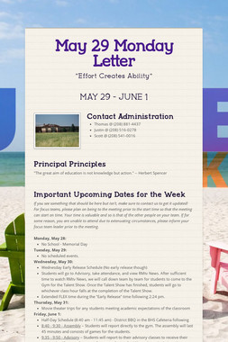 May 29 Monday Letter