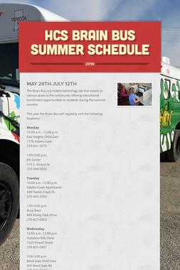 HCS Brain Bus Summer Schedule