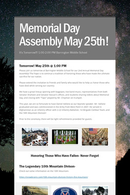 Memorial Day Assembly May 25th!