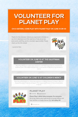 Volunteer for Planet Play