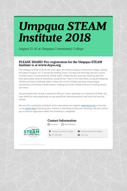 Umpqua STEAM Institute 2018