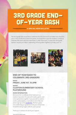 3rd Grade End-of-Year Bash