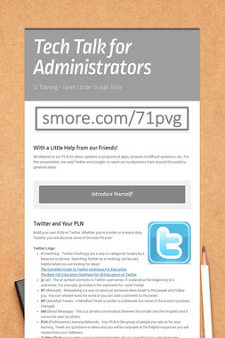 Tech Talk for Administrators