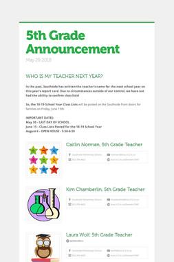 5th Grade Announcement