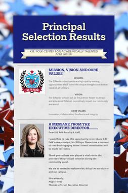 Principal Selection Results