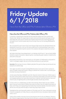 Friday Update 6/1/2018