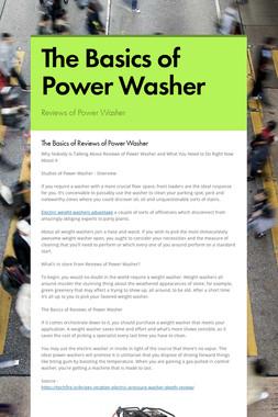 The Basics of Power Washer