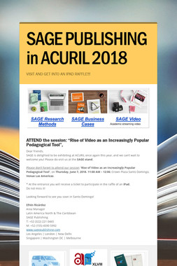 SAGE PUBLISHING in ACURIL 2018