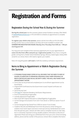 Registration and Forms