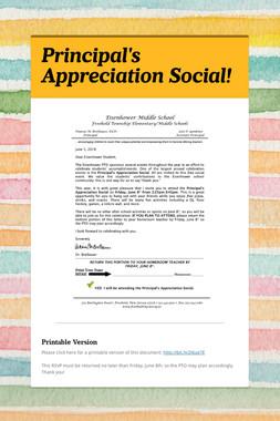 Principal's Appreciation Social!