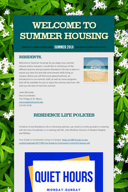 WELCOME TO SUMMER HOUSING
