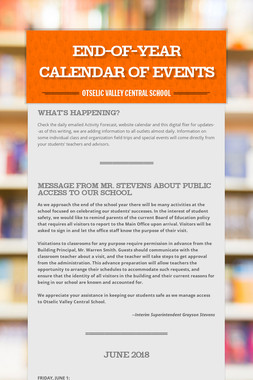 End-of-year Calendar of Events