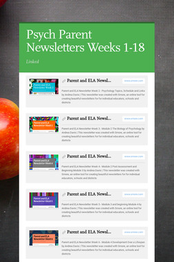 Psych Parent Newsletters Weeks 1-18