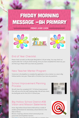 Friday Morning Message -BH Primary