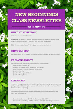 New Beginnings Class Newsletter