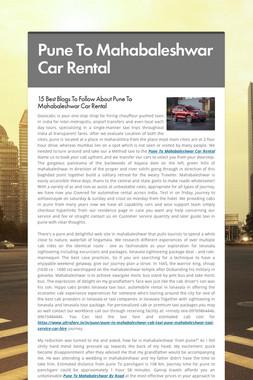 Pune To Mahabaleshwar Car Rental