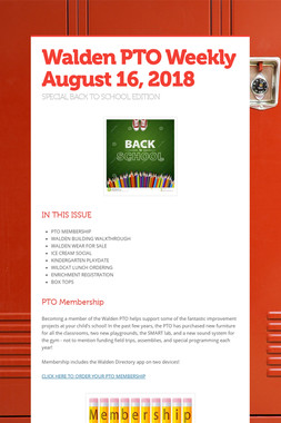 Walden PTO Weekly  August 16, 2018