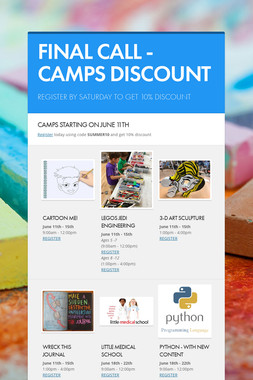 FINAL CALL - CAMPS DISCOUNT