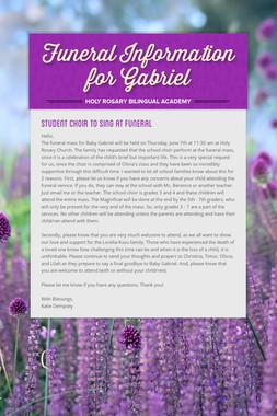 Funeral Information for Gabriel