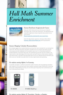 Hall Math Summer Enrichment