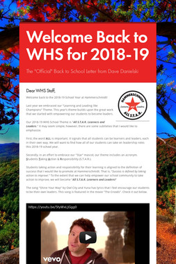 Welcome Back to WHS for 2018-19