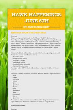 Hawk Happenings: June 6th