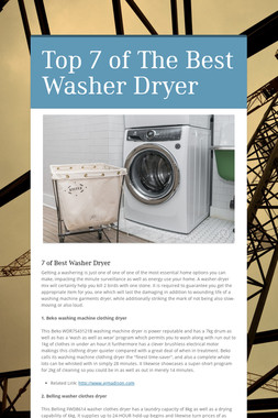 Top 7 of The Best Washer Dryer