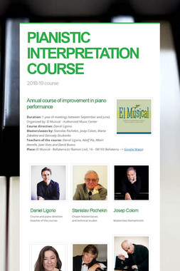 PIANISTIC INTERPRETATION COURSE