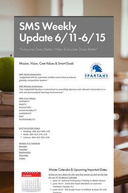 SMS Weekly Update 6/11-6/15