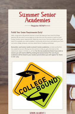 Summer Senior Academies