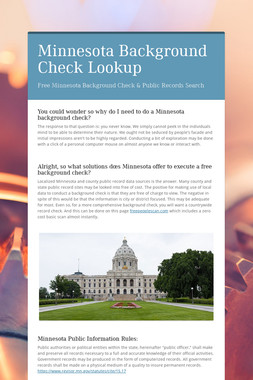 Minnesota Background Check Lookup