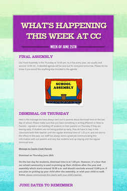 What's Happening this Week at CC