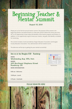 Beginning Teacher & Mentor Summit