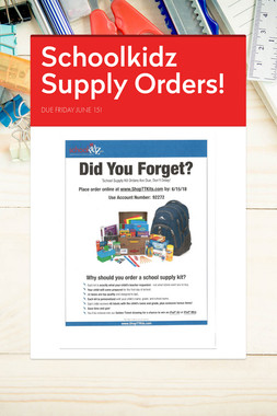 Schoolkidz Supply Orders!