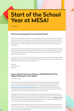 Start of the School Year at MESA!