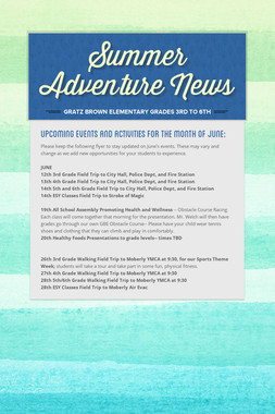 Summer Adventure News